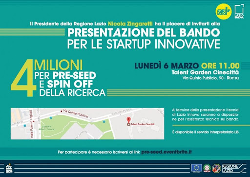 SCADUTO – BANDO PRE-SEED START UP INNOVATIVE REGIONE LAZIO